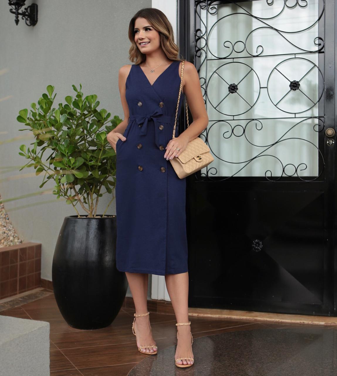 Vestido Rebeca Linho Botoes Cores Marinho e Off