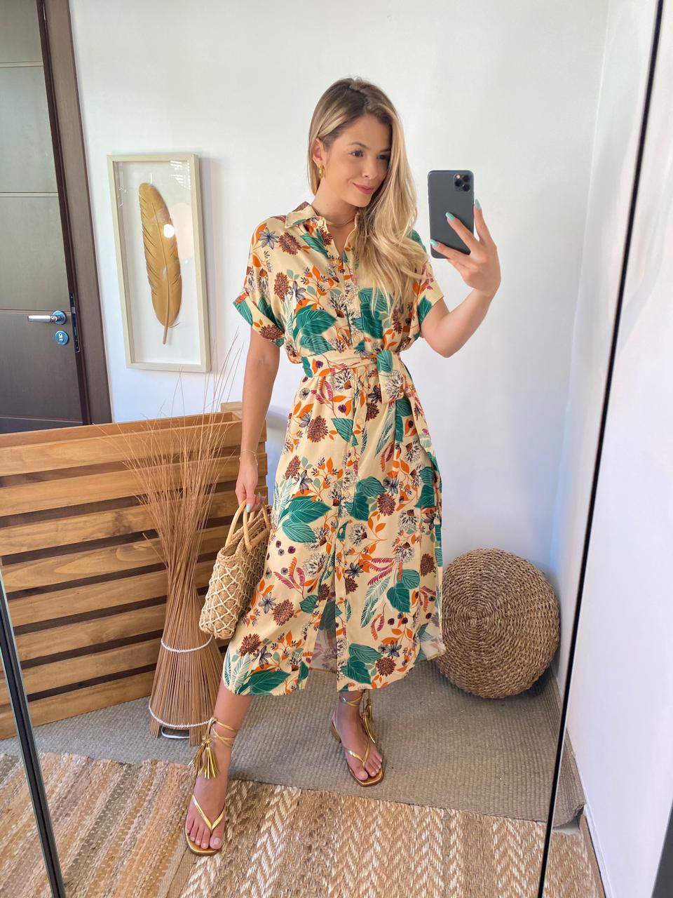 Vestido Renata Chemise  Estampa 100% Viscose C/ (Forro) +Faixa