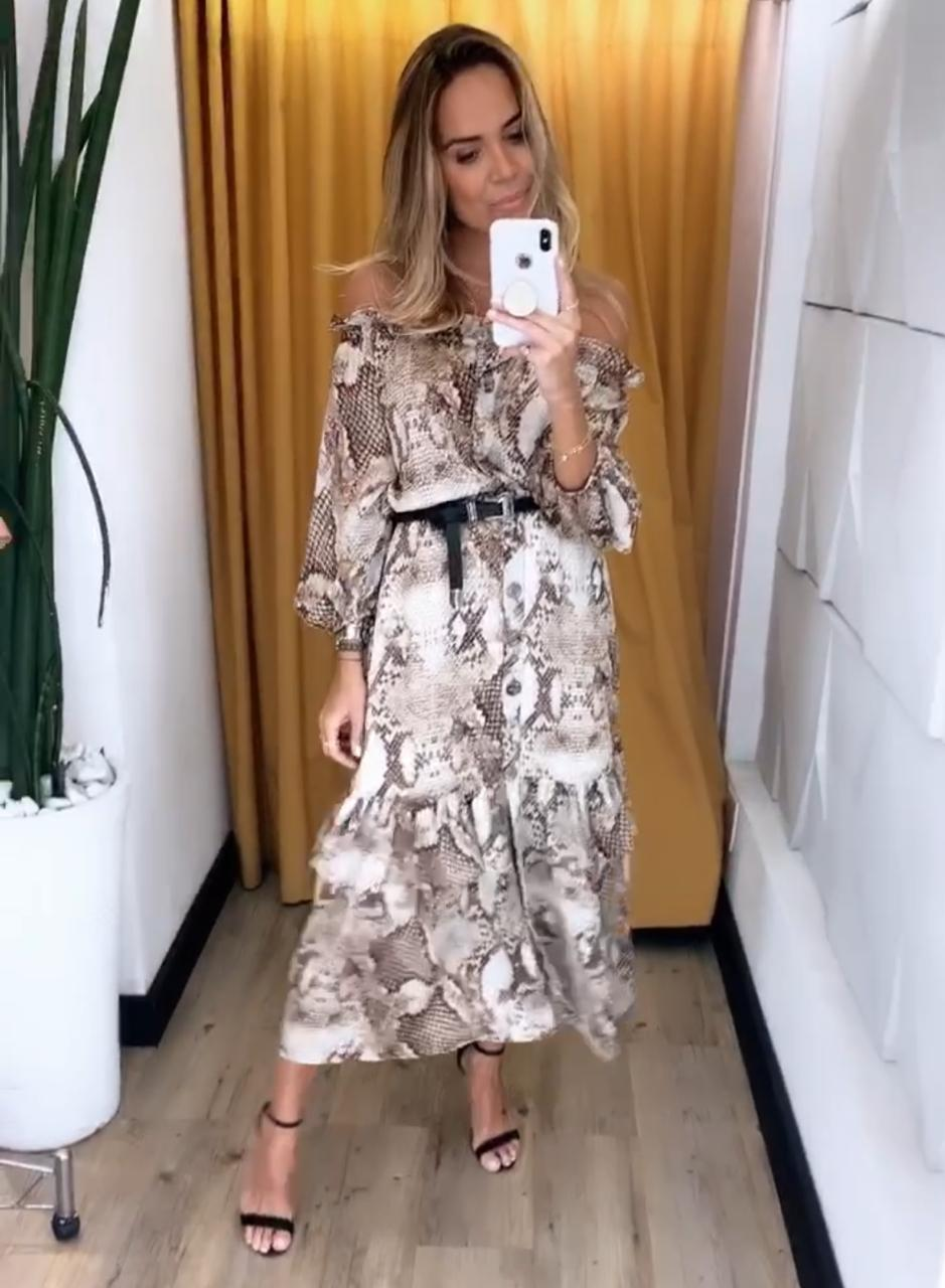 Vestido Renata  Crepe Onça C/Cinto