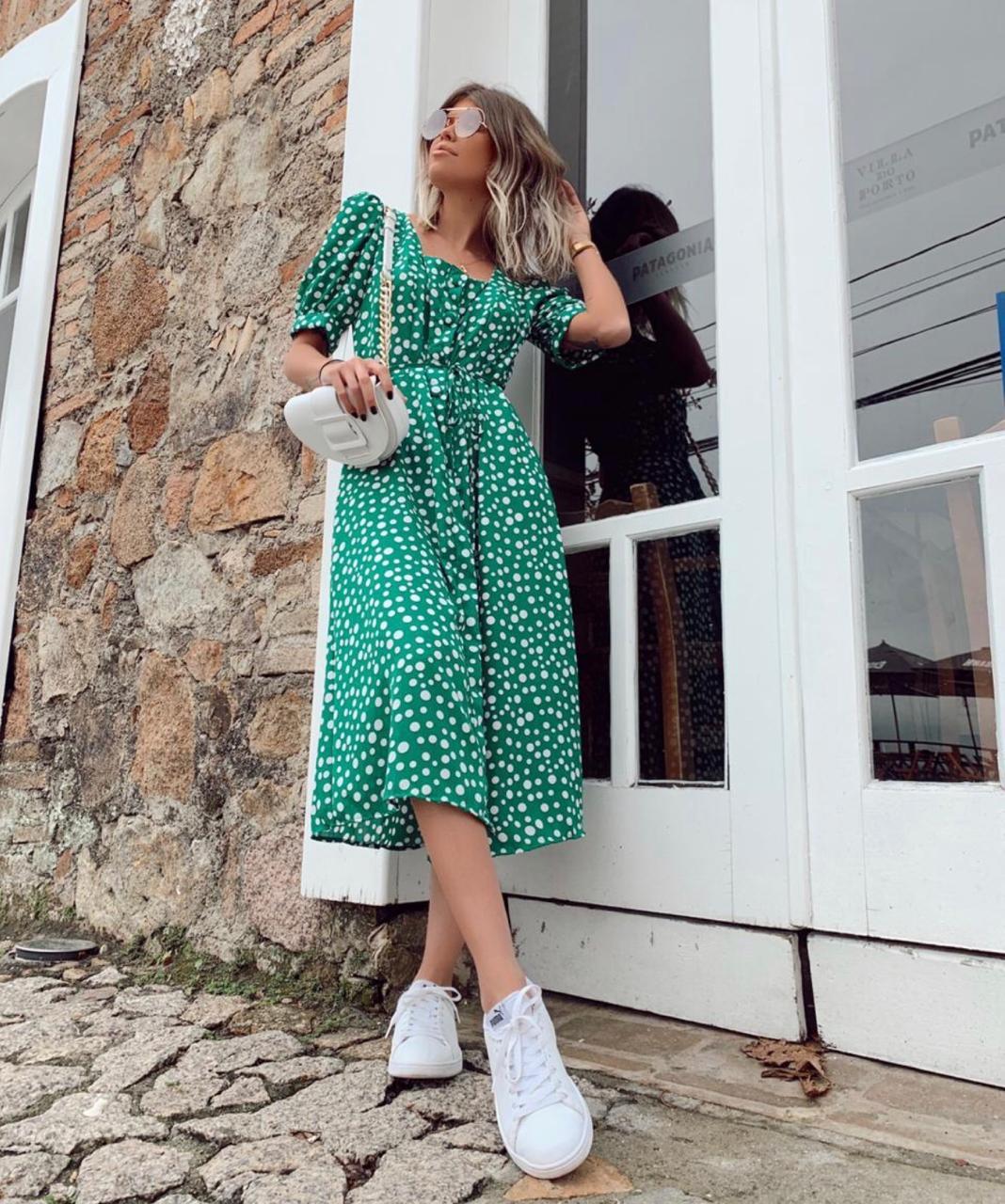 Vestido Renata  Crepe Poa