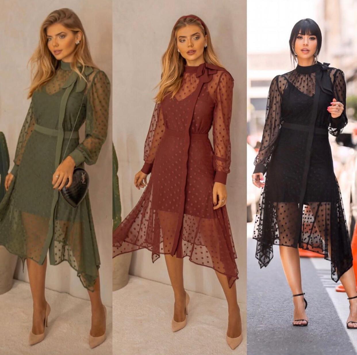 Vestido  Rica Mix Tule Poa