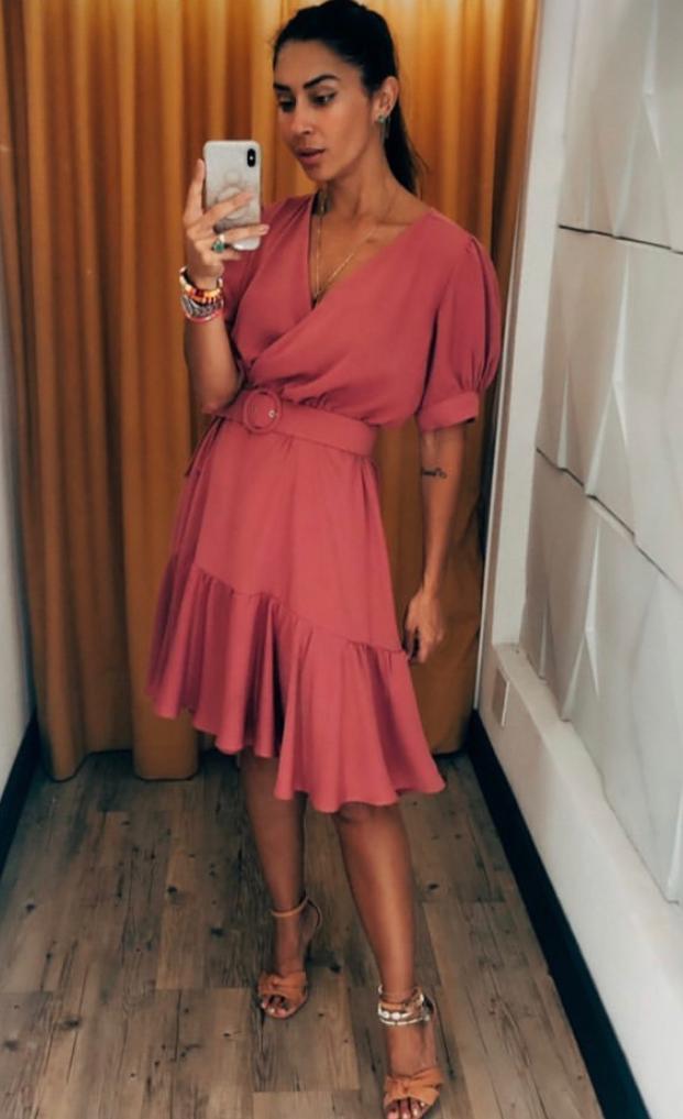 Vestido Rita Crepe Com cinto