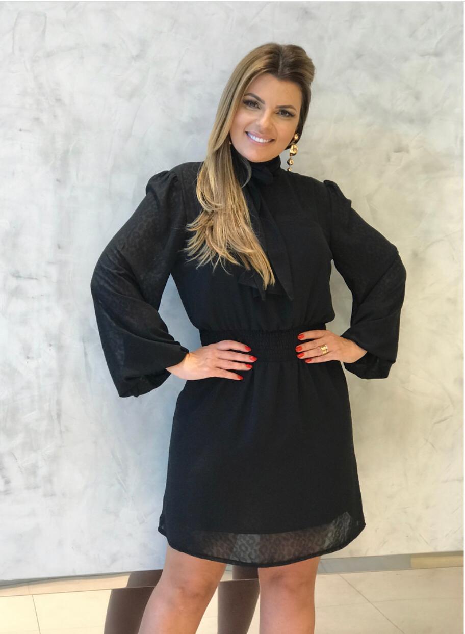 Vestido Roberta Com Transparencia e Textura animalprint