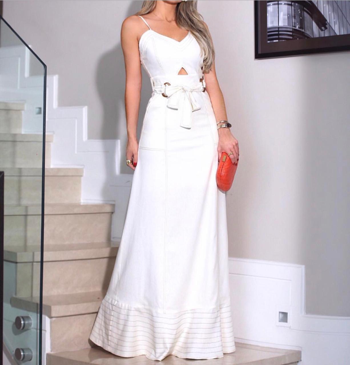 Vestido Sabrina Linho Longo Com pesponto e cinto 2% Elastano