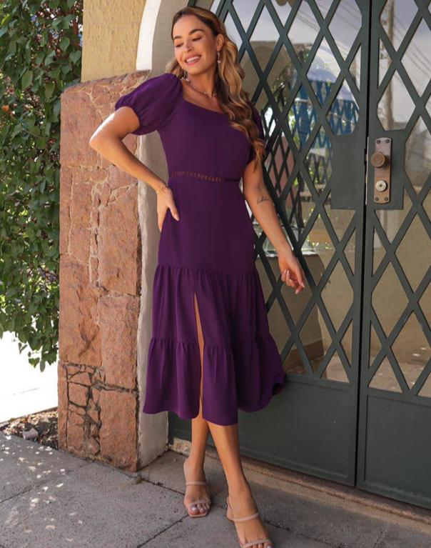 Vestido Sabrina Midi Crepe Linen Detalhe Recorte Renda Vazada Cintura