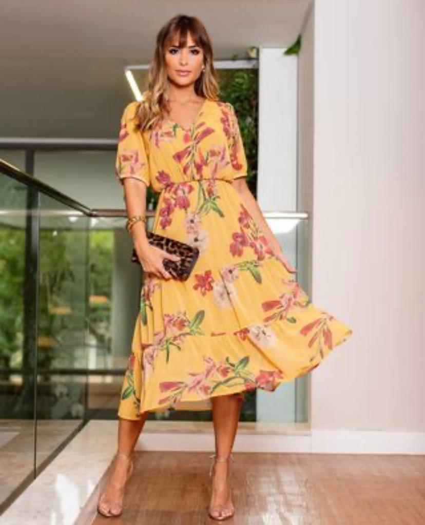 Vestido Samantha Crepe Floral Detalhe Decote Transpassado
