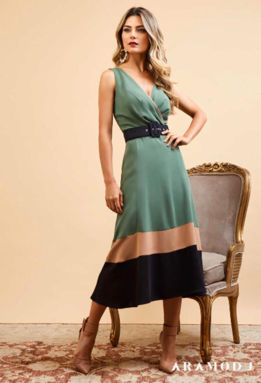 Vestido Samara  Alfaiataria Midi Crepe Bicolor +Cinto