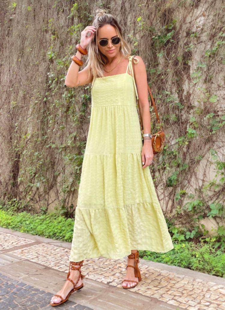 Vestido Samara Crepe Enrugado Detalhe Camadas