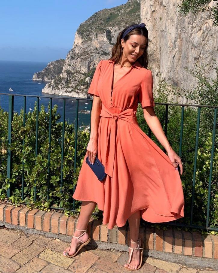 Vestido Samara Viscose Fluido Com Botões