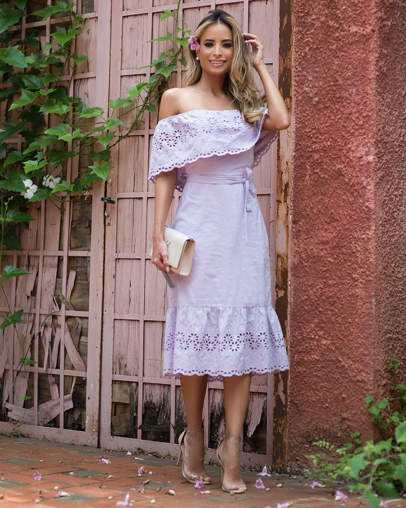 Vestido Samira Ombro Laço Lasie  Lavanda