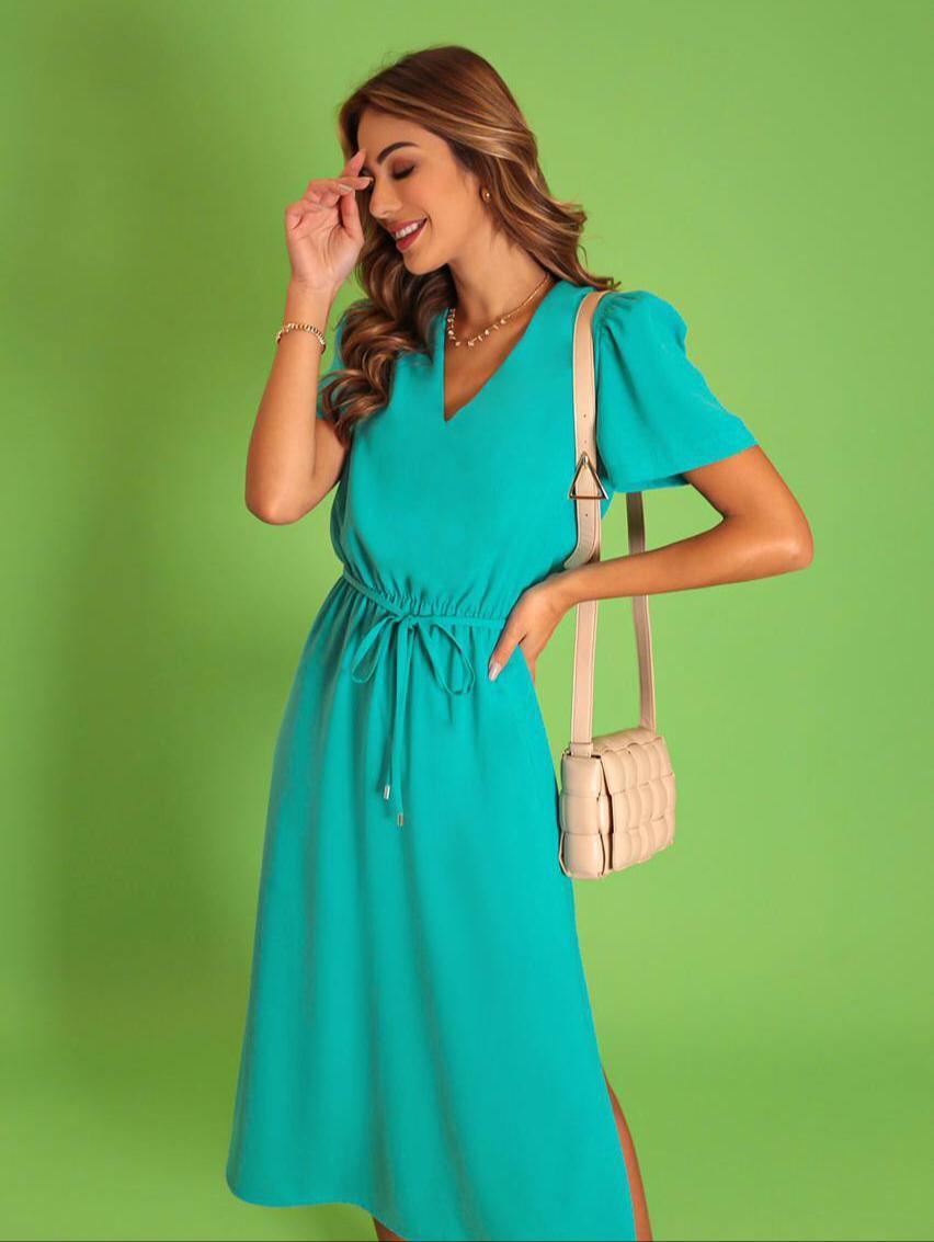 Vestido Sandra Crepe Linen Detalhe Elastico Cintura Fenda