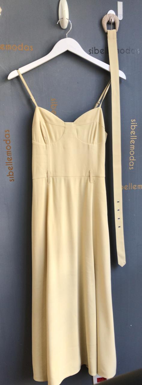 Vestido Sandra Midi Viscocrepe (Forro) Ziper Lateral Detalhe Bolso/Alça Fina + Cinto