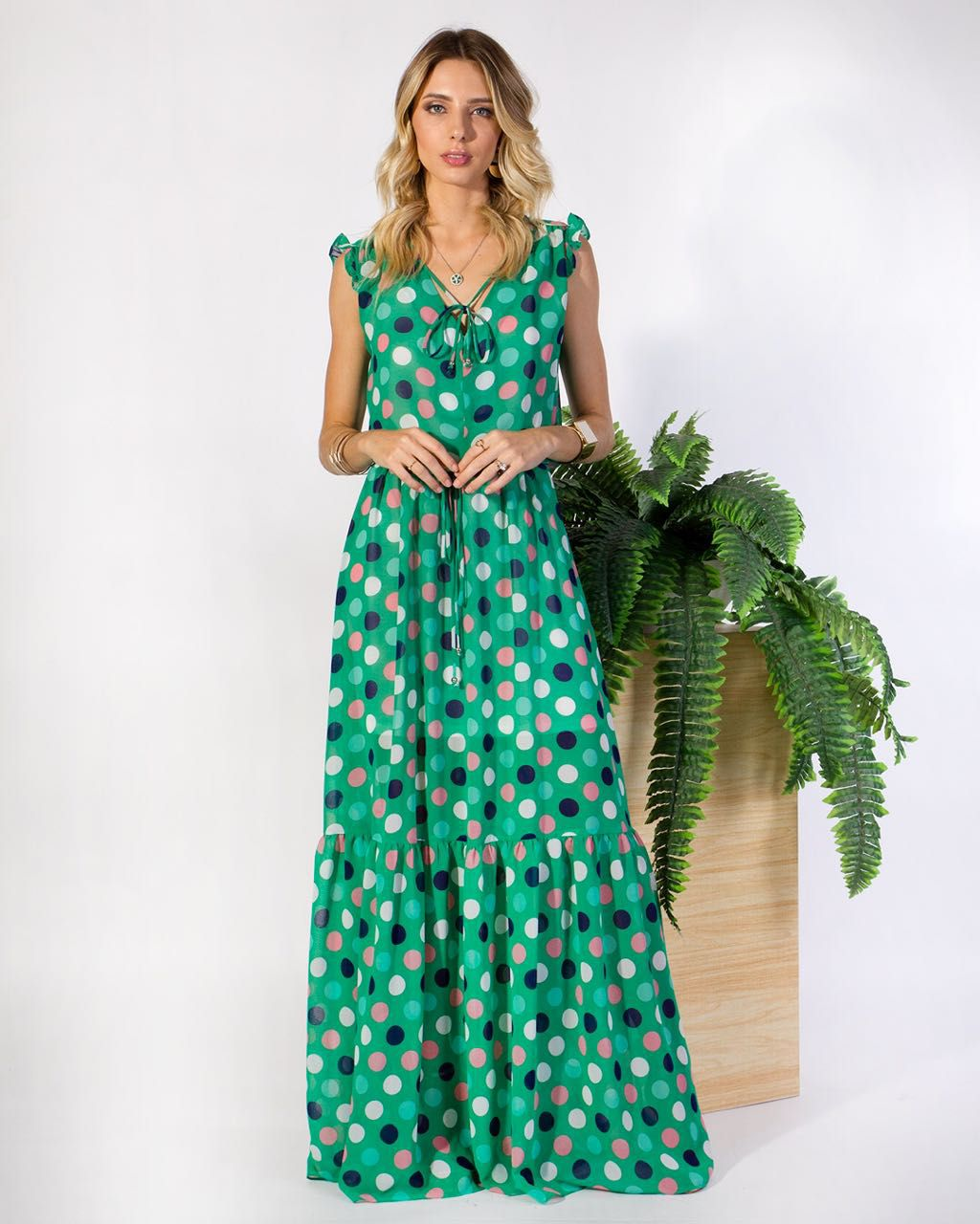 Vestido Santorini Crepe Poa Cores Acqua e Verde Bandeira