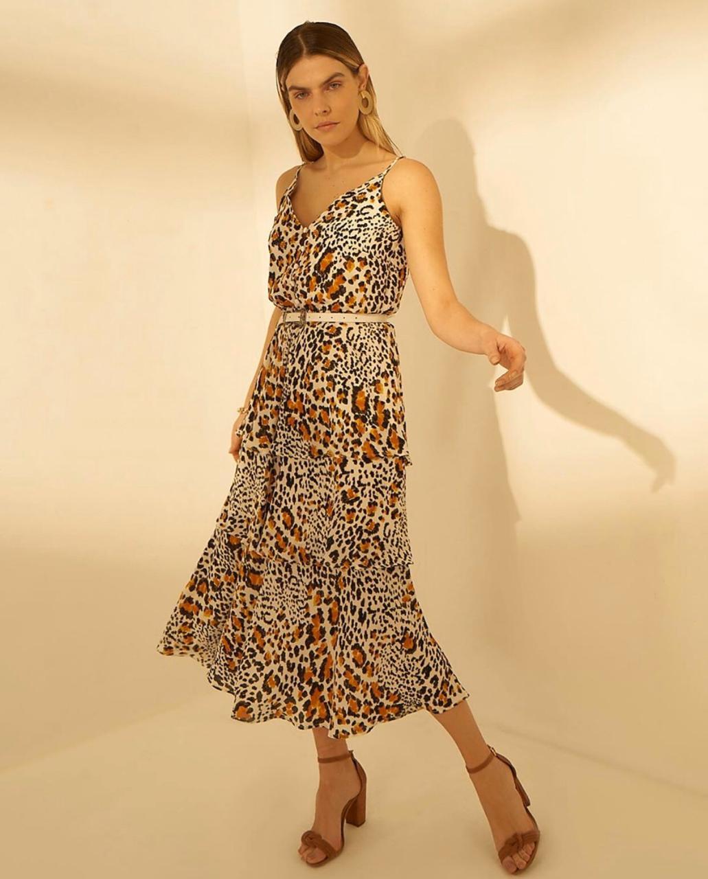 Vestido  Sarah Crepe animal C/Cinto