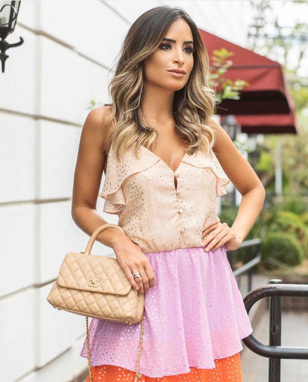 Vestido Sarah  Crepe  Camadas