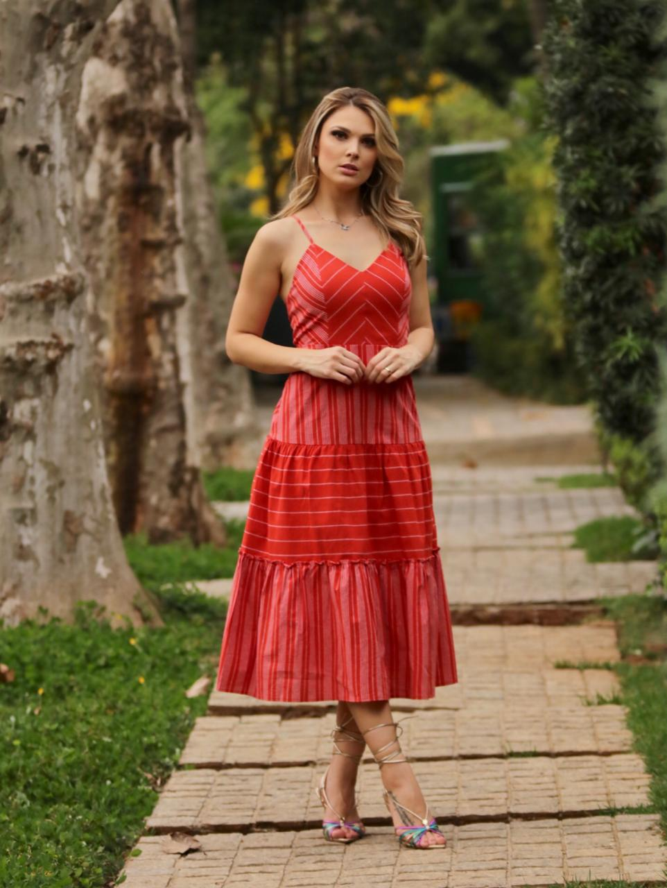 Vestido Selena Cheroy  Cotton Stripes Detalhe Amarração Nas Costas
