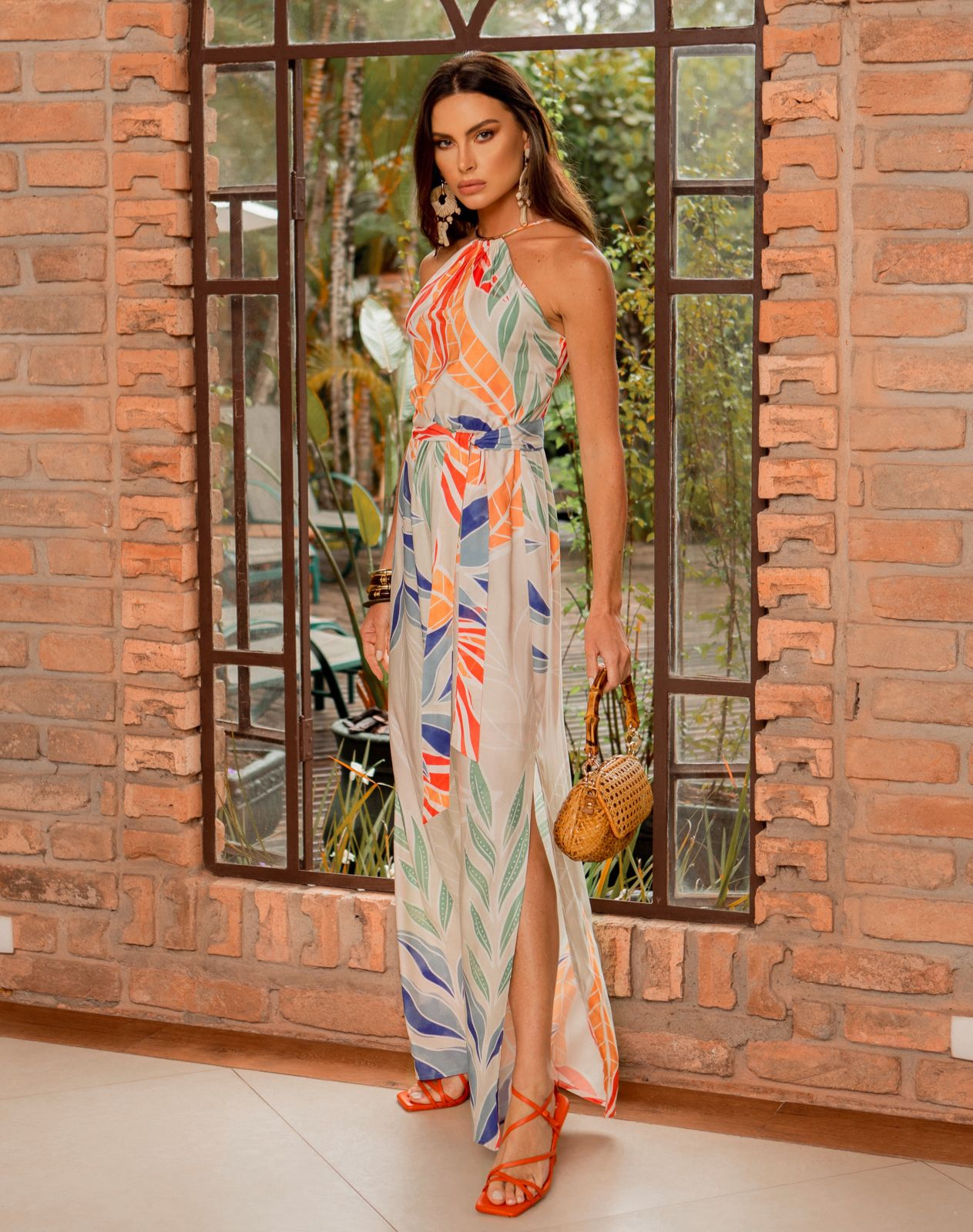 Vestido Selena Viscose (Forro) Print Detalhe Elastico Cintura Fenda Lateral + Faixa Amarração