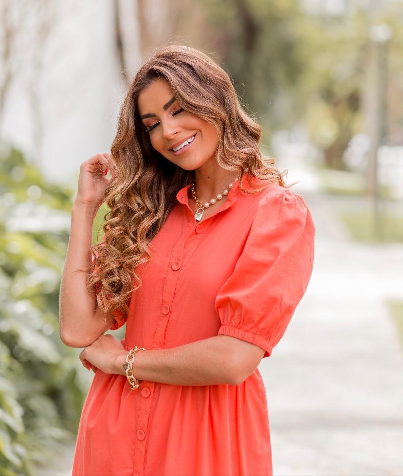 Vestido Silvia Algodão Natural Barrado Laise