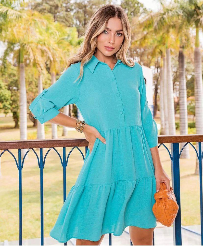 Vestido Sofia Crepe Chemise Detalhe Marias