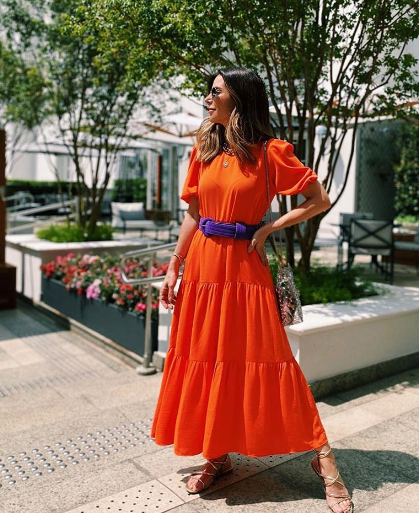 Vestido Sofia Crepe Recortes Babado Basic