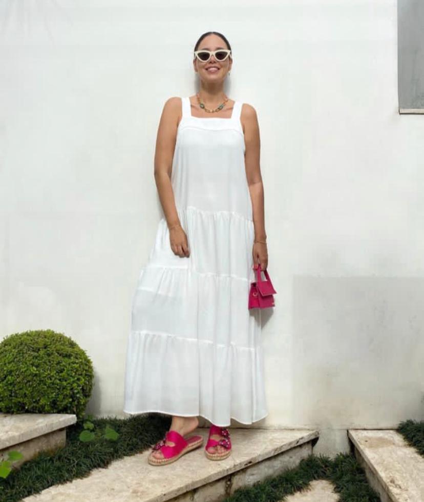 Vestido Sol Alça Larga Midi Viscocrepe