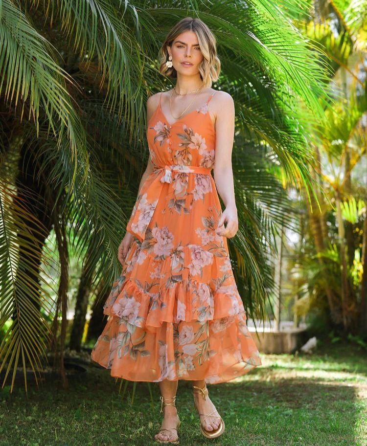Vestido Solar Detalhe Alcinha Toque Seda Floral