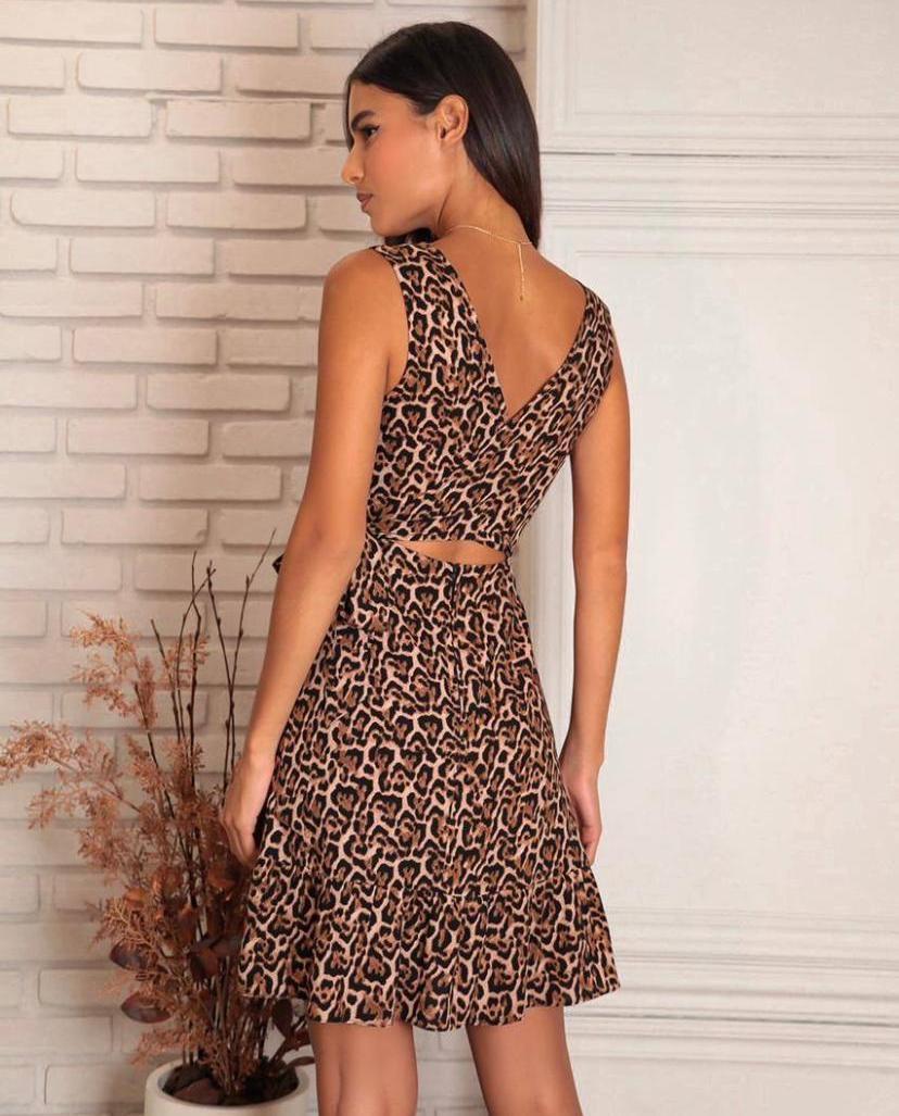 Vestido Soraia Viscose (Forro) Animal Print Transpasse Detalhe Decote Costas