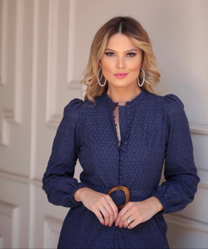 Vestido Stefania  Laise de algodão  Cinto