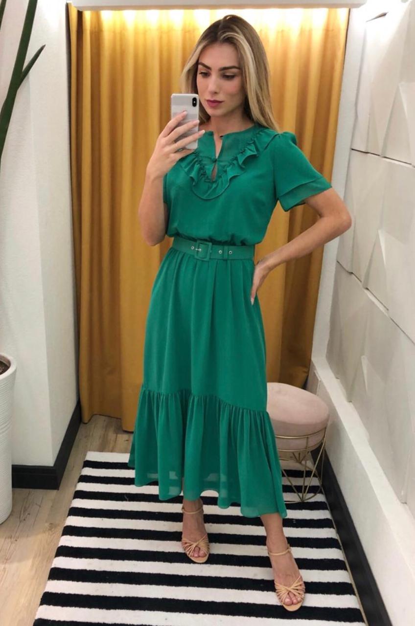 Vestido Stefany Crepe com Cinto ( Forrado )
