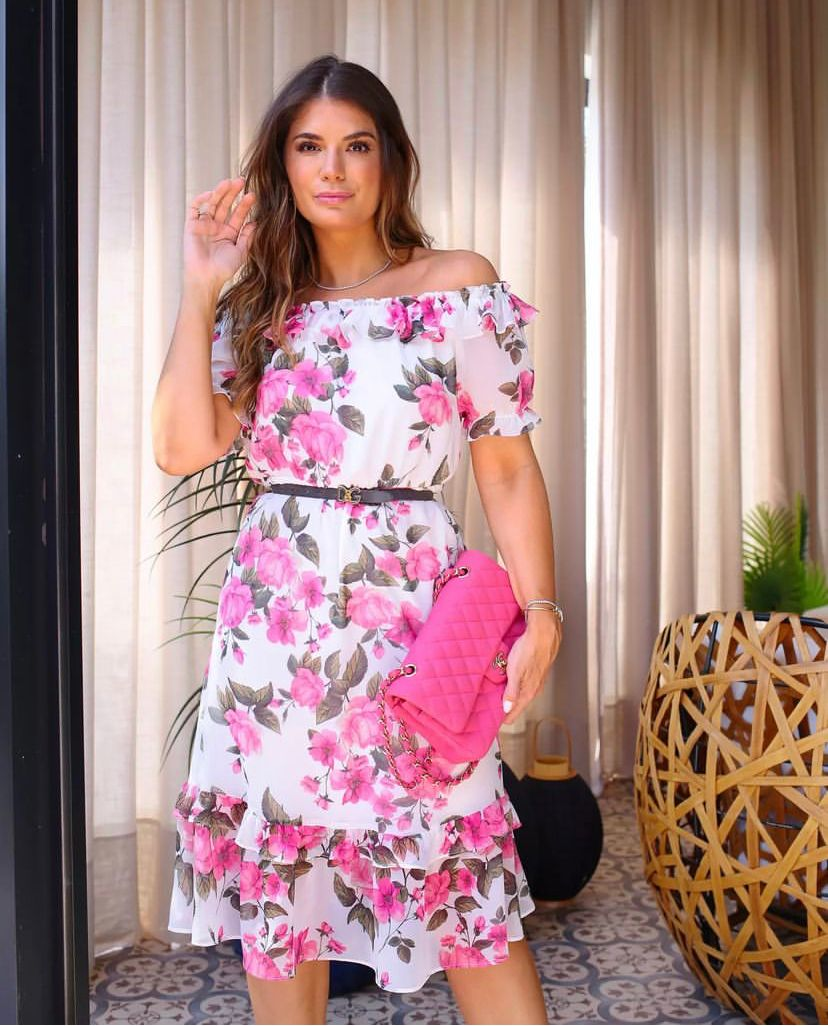 Vestido Suzane Midi Floral Detalhe Ciganinha