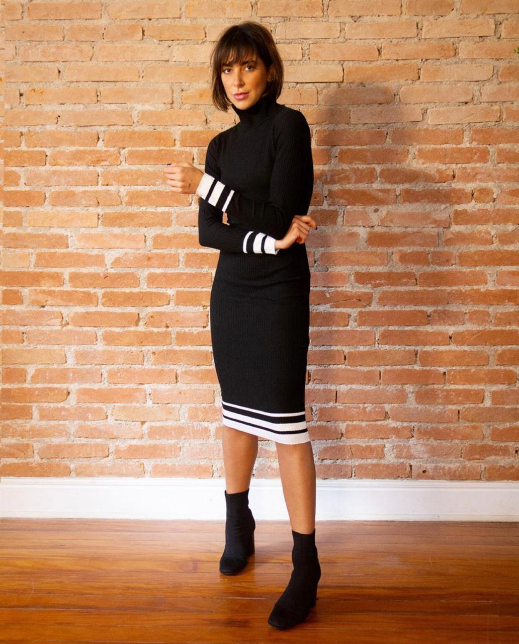 Vestido Talita Midi Tricot P&B