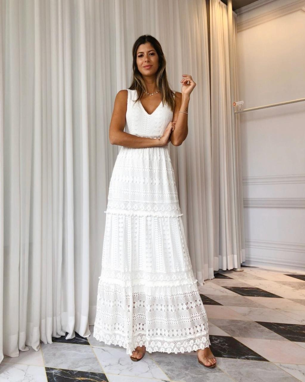 Vestido Tamara Renda Camadas Decote V