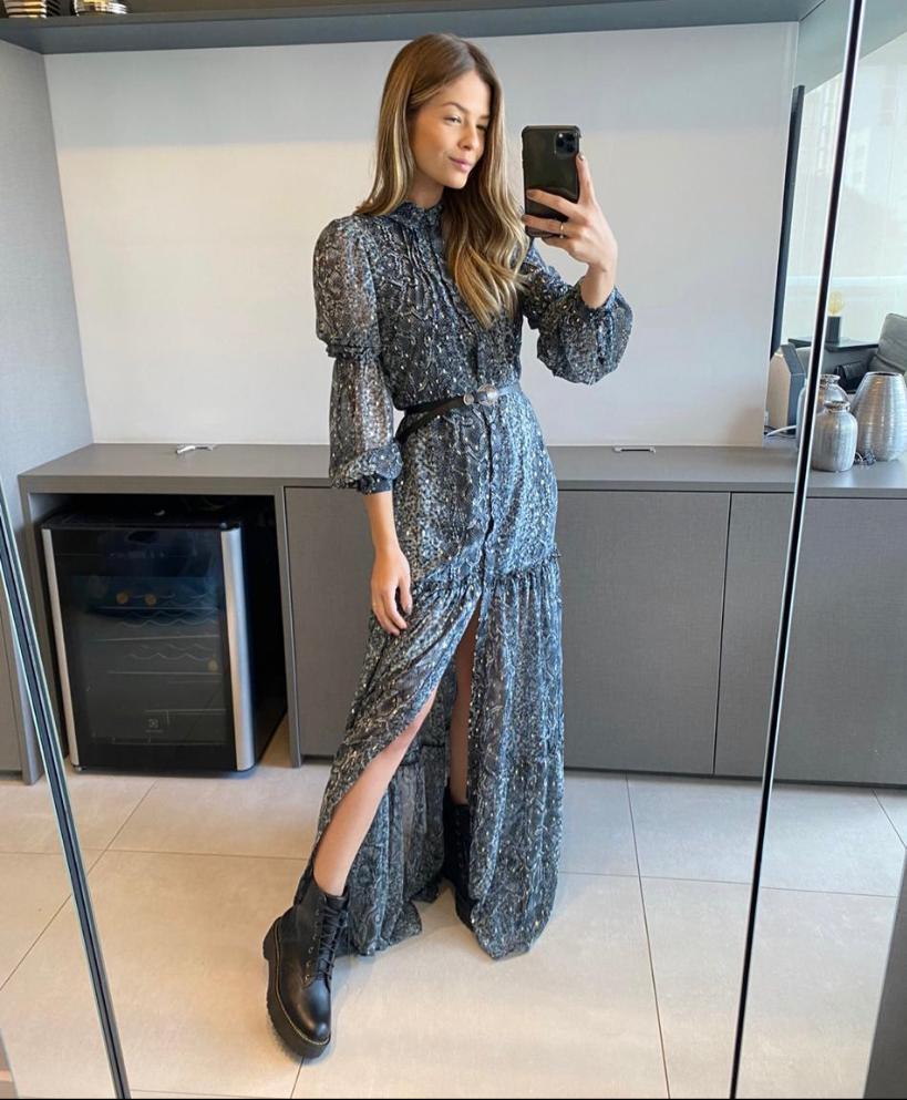 Vestido Tatiane  crepe Com Cinto