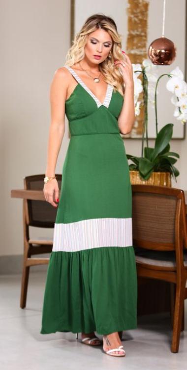 Vestido Valentina Crepe Compose Detalhe Listras
