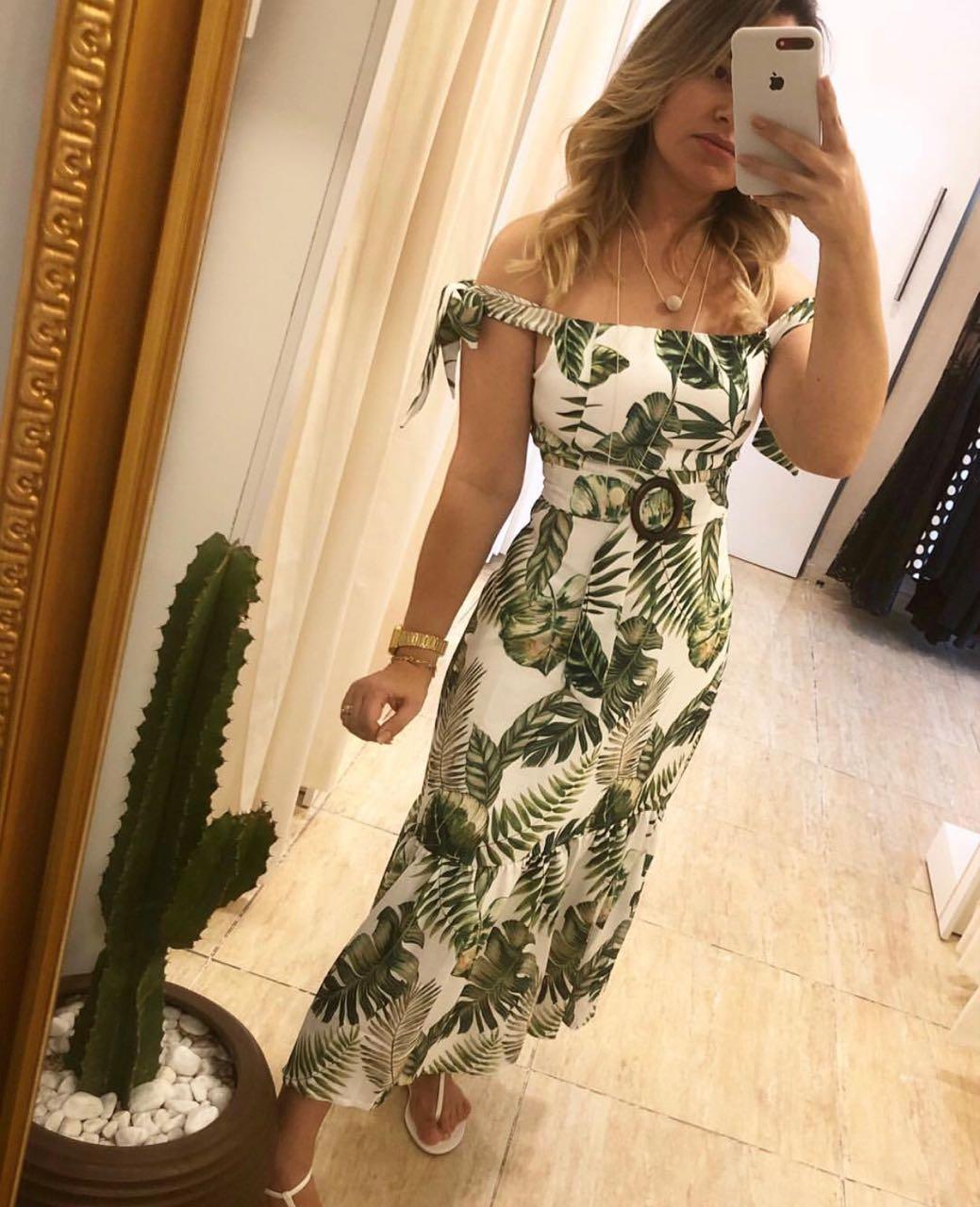Vestido Valeria Linho Folhagens