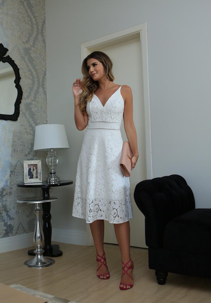 Vestido Vanessa Renda Entremeio  40% Poliamida 35% Algodão 25% Viscose