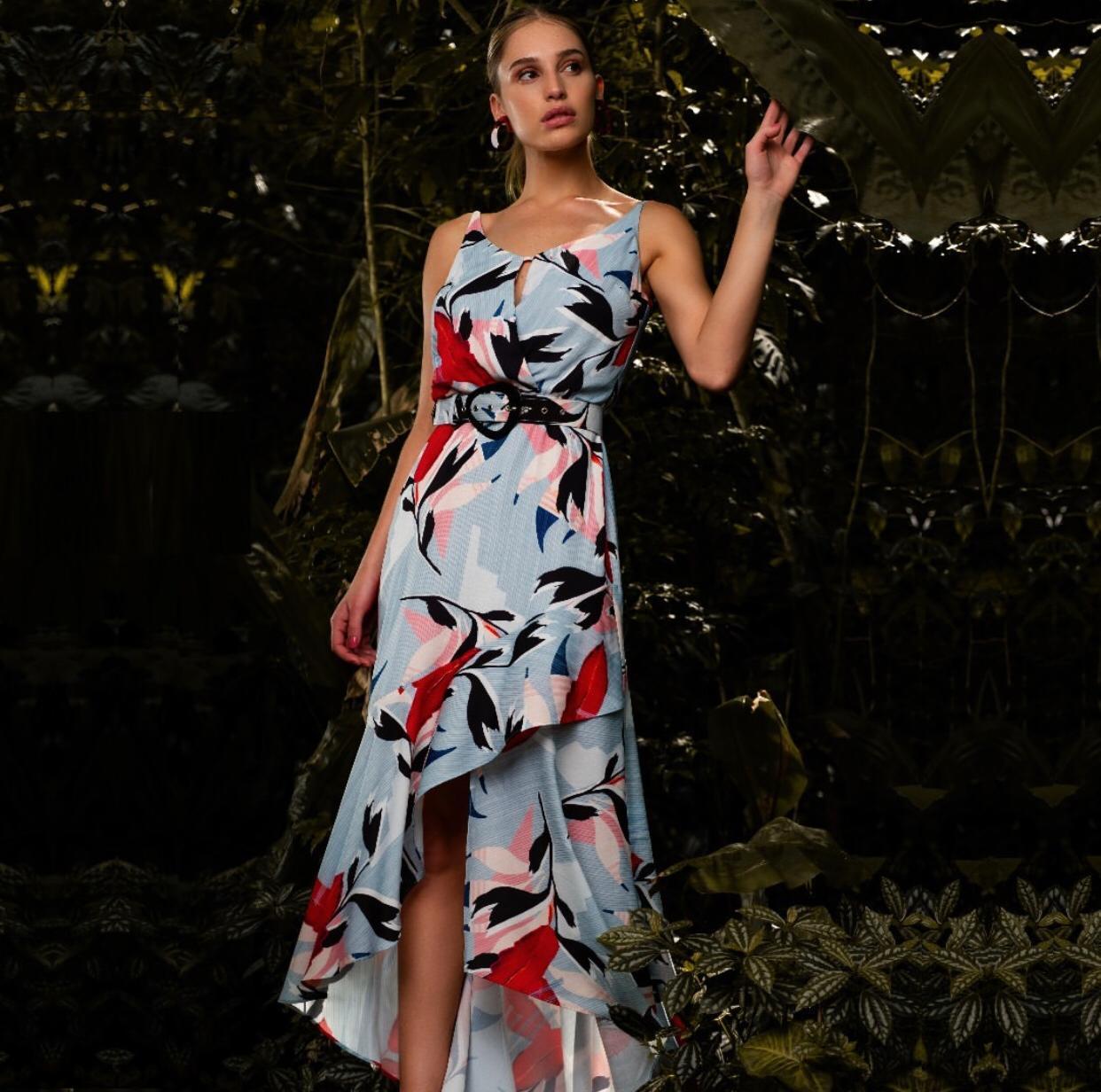 Vestido Vanusa Crepe Print  Assimetrico Longo