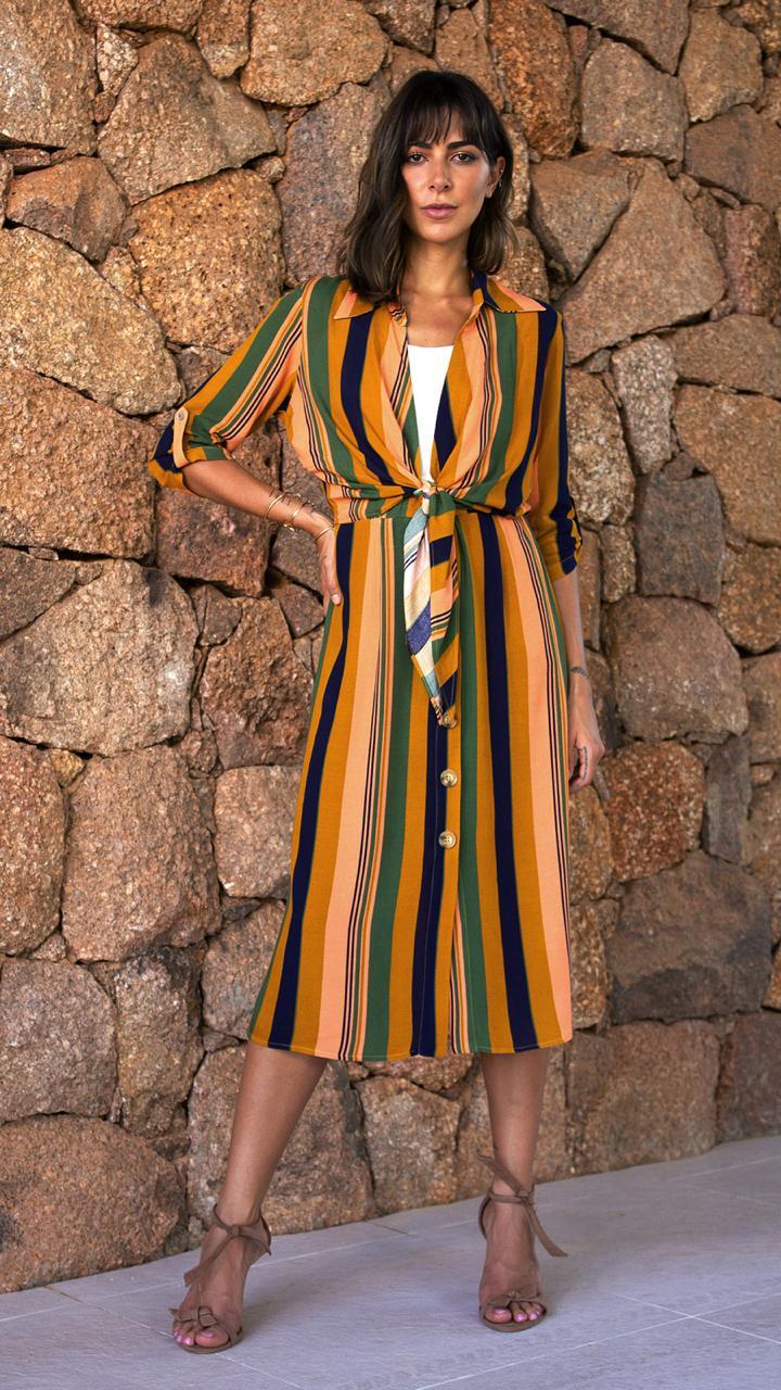 Vestido Vera  Listras Detalhe Amarraçao  Crepe Acompanha Top e Anagua