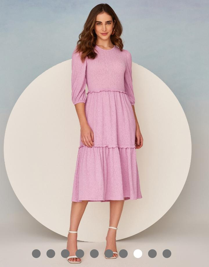 Vestido Vera Textura Malha Midi Detalhe Babadinhos