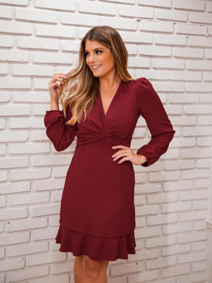 Vestido Veronica Crepe Detalhe Amarração M/L