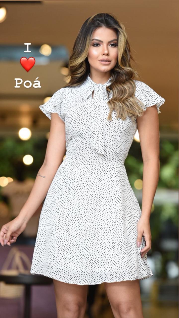 Vestido Veronica crepe poa (Forro)cores:Off e Preto