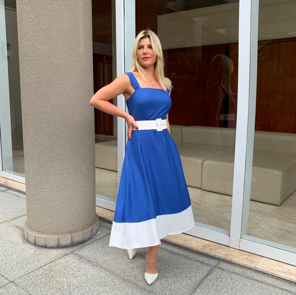 Vestido Veronica  Viscose  Bicolor C/ Cinto