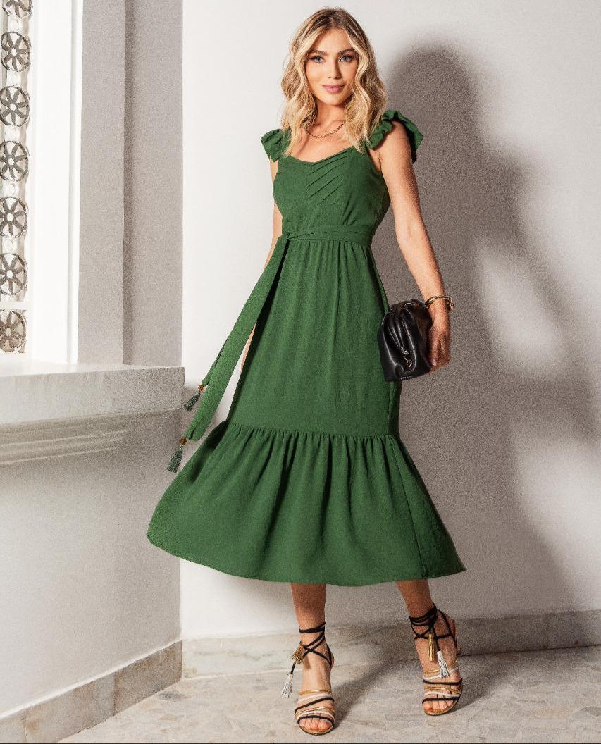 Vestido Virginia Crepe Midi (Forro) Detalhe Regata Babados Pregas