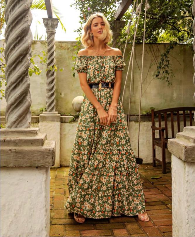 Vestido Lena Viscose Floral  Ombro a Ombro
