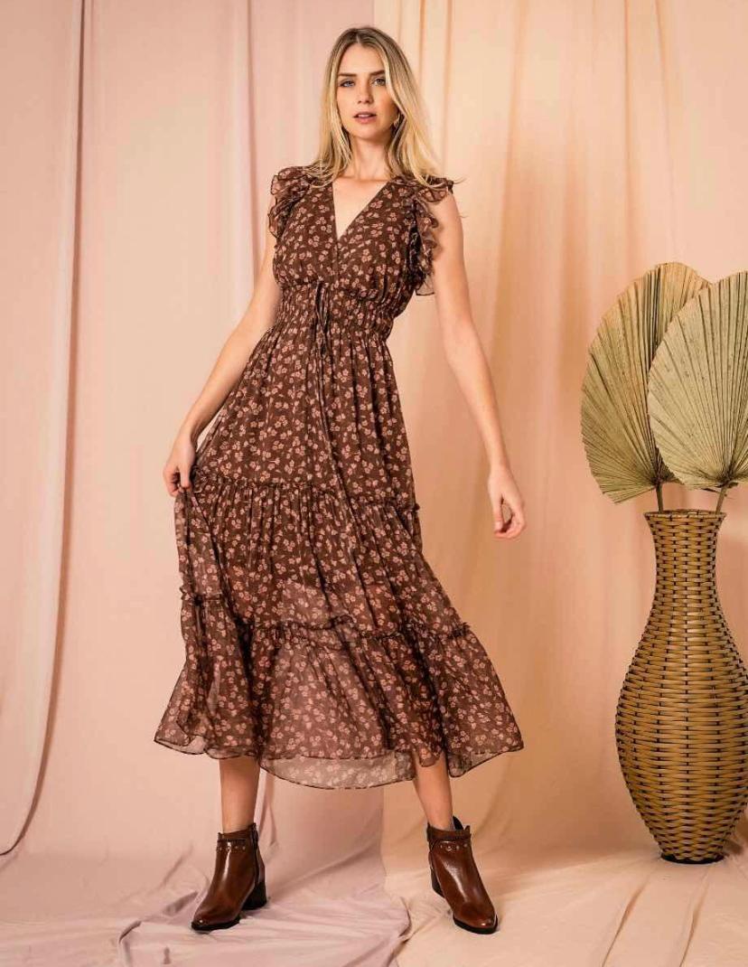 Vestido Vitoria Morina Crepe Floral
