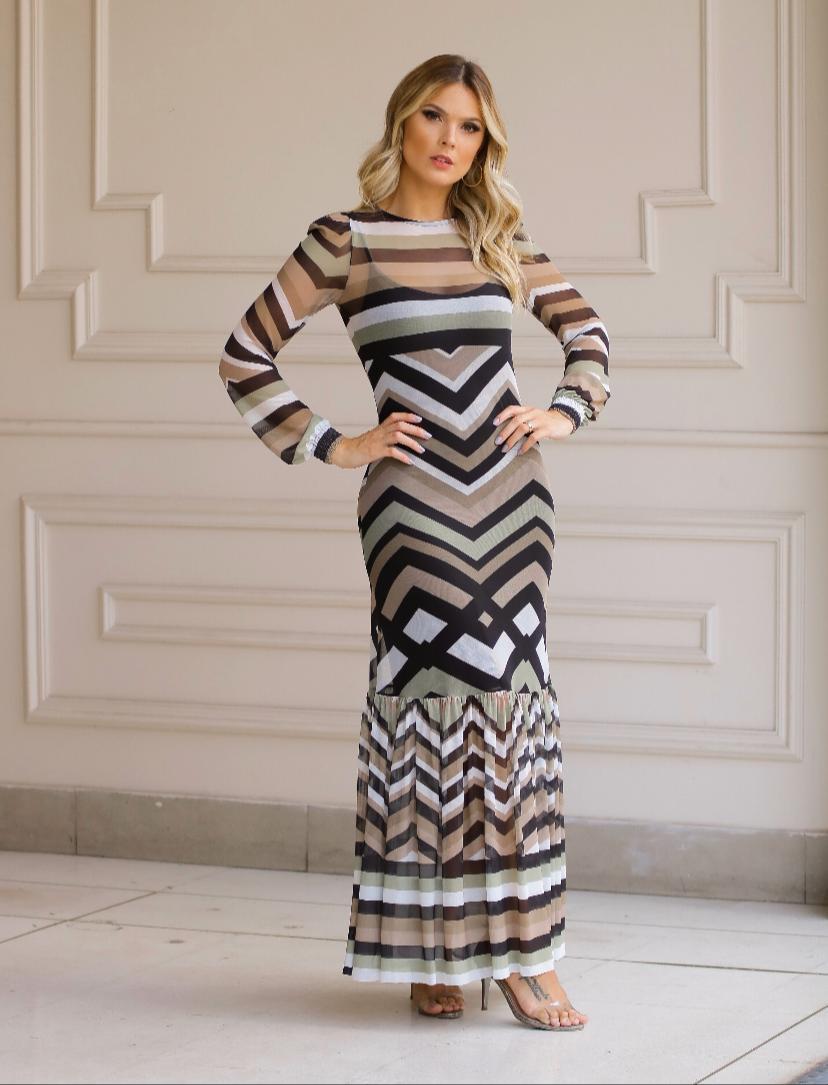 Vestido Vivara Midi Tule Estampa Geometrica +Forro