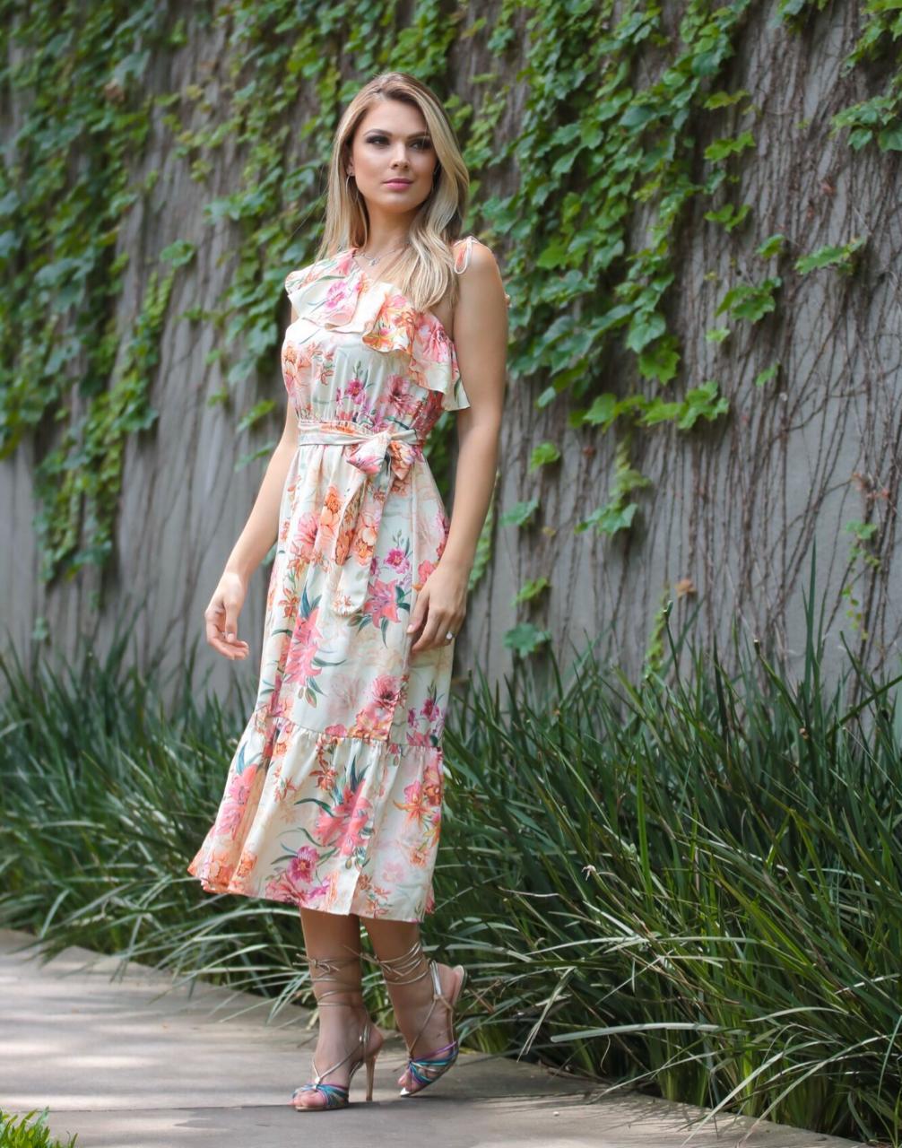 Vestido Vivian Crepe Floral MIdi + Faixa