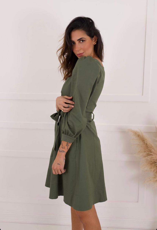Vestido Vivian Sarja Estruturado Com Faixa 68,30% Algodão 25,5% Viscose 4,5%Linho 1,7% Elastano