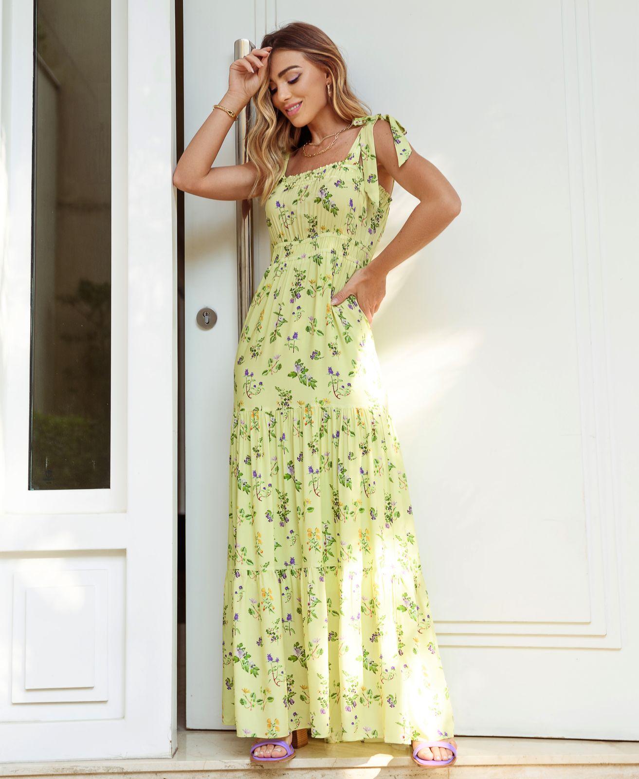 Vestido Vivian Viscose Floral (Forro) Detalhe Amarração Alça Babados Barra