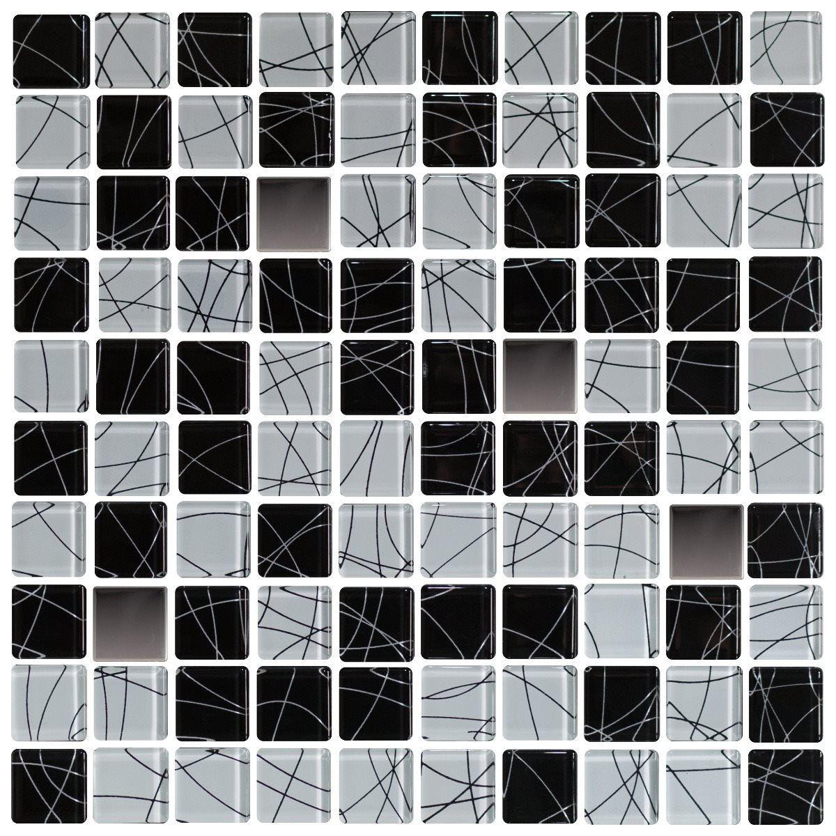 Pastilha de Vidro - 3x3 cm Decorado/Inox Polido - Vetrobello